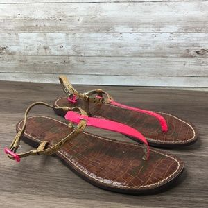 Sam Edelman Gigi Flat Thong Leather Sandals Pink